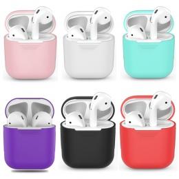 Miękki futerał silikonowy do Apple Airpods, odporna na wstrząsy pokrywa dla Apple AirPods przypadki słuchawek Ultra cienki powie