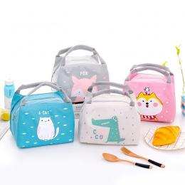 Izolowane torby termoizolacyjne przenośne kobiety Lunchbox dla dzieci Cartoon zwierząt piknik dostaw torba na Lunch 1 sztuka pud