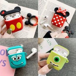 Cute Cartoon Mickey Minnie miękka lalka silikonowa etui do Apple Airpods bezprzewodowa Bluetooth słuchawki Toy Story pokrywa Coq