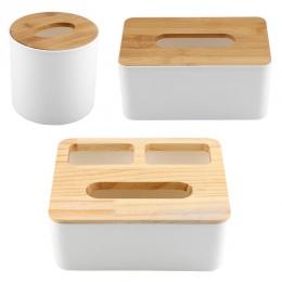 Wymienny bambusa pokrywa drewniana plastikowe pudełko na chusteczki uchwyt do przechowywania organizator mody pudełko na chustec