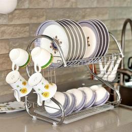 OUNONA 2 poziomy suszarka do naczyń domu uchwyt do mycia naczyń kosz Plated żelaza świetna kuchnia ociekacz do naczyń na zlew su