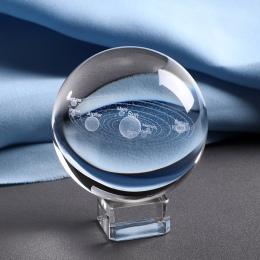 6 CM grawerowane laserowo układu słonecznego piłka 3D miniaturowe planet Model kula szklana kula ozdoba wystrój domu prezent dla