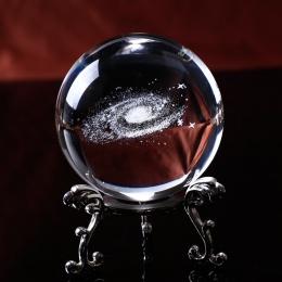O średnicy 6 CM na całym świecie Galaxy miniatury kryształowa kula 3D grawerowane laserowo kwarcowy szkła kula kula akcesoria do