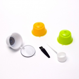 3 sztuk filtry do kawy Dolce Gusto wielokrotnego użytku kapsuła do kawy wielokrotnego użytku plastikowe kosze czapki zestaw łyżk