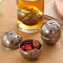 Nowy kulkowe ze stali nierdzewnej zaparzaczem siatki filtr siatkowy w/hak herbata liściasta Spice Ball z łańcucha liny domu narz