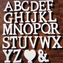 1 pc biały drewniane litery alfabetu angielskiego słowo spersonalizowane nazwa Design Art Craft darmowa stojący serce kształt śl