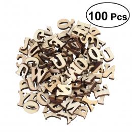 100 sztuk niedokończone drewniane litery alfabetu DIY drewno wycinanka dyski dla Patchwork Scrapbooking Arts Crafts (nie 26 lite