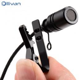 Ollivan 2.5 m dookólna metalowy mikrofon 3.5mm Jack Lavalier krawat klip mikrofon Mini Audio mikrofonem do komputera laptop tele