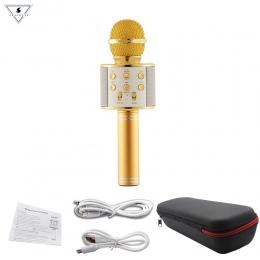 WS858 profesjonalny bezprzewodowy mikrofon do karaoke głośnik pojemnościowy mikrofon z torbą Bluetooth Radio Studio nagrywania M