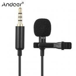 Andoer EY-510A Mini przenośny Clip-on Lapel Lavalier mikrofon pojemnościowy przewodowy mikrofon do iPhone'a telefon komórkowy DS