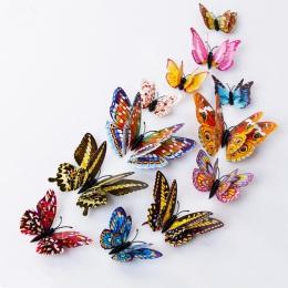 Luminous magnesy na lodówkę 12 sztuk 3D motyl projekt naklejka Art naklejki pokój magnetyczny wystrój domu DIY dekoracje ścienne