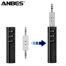 ANBES samochodowy Bluetooth AUX 3.5mm Jack odbiornik Bluetooth zestaw głośnomówiący Bluetooth Adapter nadajnik samochodowy Auto