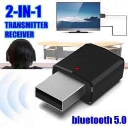 2in1 bluetooth 5.0 odbiornik Audio nadajnik bezprzewodowy Adapter Mini 3.5mm AUX Stereo nadajnik bluetooth do telewizora PC głoś