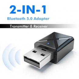 Rovtop prawdziwe Stereo Bluetooth 5.0 Audio odbiornik nadajnik Mini 3.5mm AUX nadajnik Bluetooth bezprzewodowy adapter do TV PC