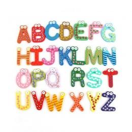 Drewniane magnes na lodówkę 26 alfabet rozwój inteligencji zabawki dla dzieci dzieci magnetyczne naklejki Classroom Office tabli