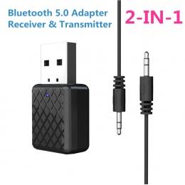 Nowy 5.0 Audio Bluetooth odbiornik nadajnik Mini 3.5mm AUX Jack Stereo nadajnik Bluetooth dla TV PC samochodów bezprzewodowy Ada