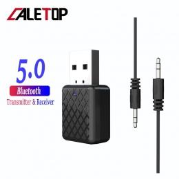 CALETOP Bluetooth 5.0 Adapter nadajnik Bluetooth odbiornik 3.5mm Stereo Audio dźwięk muzyka klucz do telewizora PC słuchawki gło