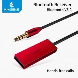 Hagibis odbiornik Bluetooth Bluetooth 5.0 AUX Audio 3.5mm Jack Stereo bezprzewodowy nadajnik dla głośnik samochodowy słuchawki