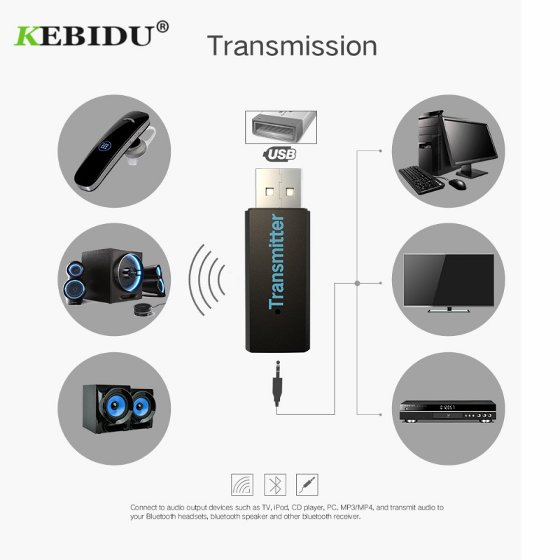 Bluetooth 3.0 USB 3.5mm Audio Music Transmitter Stereo Adapter for TV PC CD MP3