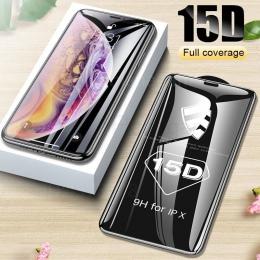 15D szkło ochronne na iPhone 6 6 s 7 8 plus XR X XS szkło pełna osłona iPhone Xs max ochraniacz ekranu szkło hartowane