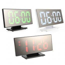 Cyfrowy zegar z budzikiem LED lustro zegar wielofunkcyjny drzemka czas wyświetlania noc LCD lampa biurkowa pulpit budzik kabel U