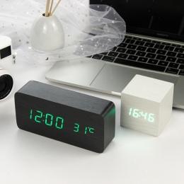 LED budzik drewniany zegarek stołowy sterowania głosem cyfrowy Despertador elektroniczny pulpit USB/AAA zasilany zegary wystrój