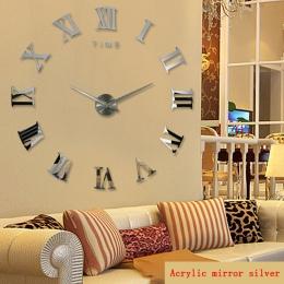 Promocja nowy wystrój domu duże rzymskie lustro moda nowoczesne zegary kwarcowe salon diy zegar naklejany na ścianę zegarek darm