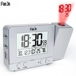 Fanju FJ3531 projekcja budzik zegar cyfrowy data funkcja drzemki podświetlenie obrotowy budzenie projektor wielofunkcyjny zegare