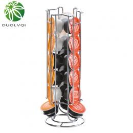 Duolvqi metalowy uchwyt na kapsułki kawy żelaza chromowana podstawka kapsułki kawy stojak do przechowywania dla 18 sztuk Dolce G