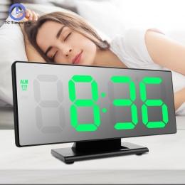 Lustro LED cyfrowy budzik elektroniczny zegarek stół wielofunkcyjny drzemki nocne wyświetlacz LED pulpit budziki Despertador