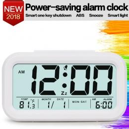 Cyfrowy budzik zegar Student zegar duży wyświetlacz LCD drzemki elektroniczny zegar dla dzieci czujnik światła Nightlight biurow