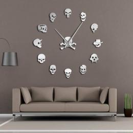 Różnych czaszki głowy DIY Horror Wall Art gigantyczny zegar ścienny duża igła bezramowe głowy Zombie duży ścienny zegarek Hallow