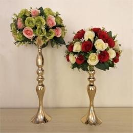 """Złote świeczniki 50 cm/20 """"metalowy świecznik kwiat wazon stół centralny Event stojak na roślinę doniczkową ołowiu drogowego ślu"""