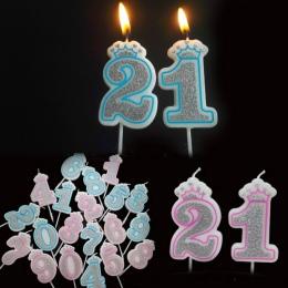 Kreatywny srebrny różowy/niebieski korona urodziny liczba świece 0-9 dla dzieci dorosłych dziewczyny chłopcy Birthday Party świe