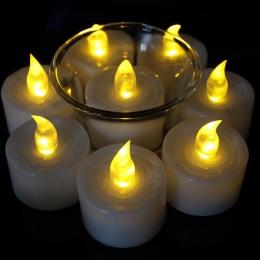 12 sztuk Mini ciepły biały velas led decorativas led bursztynowy blask vela de led mała candele kaarsen z baterią