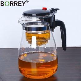 BORREY odporne na ciepło szklany imbryk z zaparzaczem filtr chiński Kung Fu Puer herbata oolong czajniczek 500 Ml Kamjove dzbane