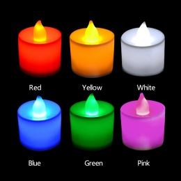 1 sztuk kreatywny LED świeca wielokolorowa lampa symulacja kolor płomień światło herbaty strona główna ślub Birthday Party Decor