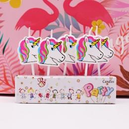 5 sztuk Cartoon jednorożec/Flamingo świece przyjęcie urodzinowe, baby shower, dla dzieci party świeczki na tort jednorożec party