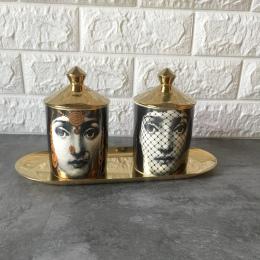 Fornasetti świecznik Diy Handmade świece słoik Retro Lina twarzy pojemnik do przechowywania ceramiczne Caft do dekoracji domu Je