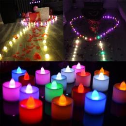 1 sztuk świeczki LED herbaty światła zasilane z baterii symulacja kolor płomień miga strona ślub urodziny strona dekoracji świec