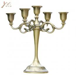 Srebrny/złoty/brązowy/czarny 3-Arms Metal filar świeczniki świecznik dekoracji ślubnych świeca stojak Mariage domu wystrój świec
