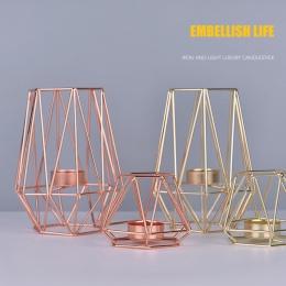 Nordic styl kutego żelaza geometryczne świeczniki dekoracji domu rzemiosło metalowe