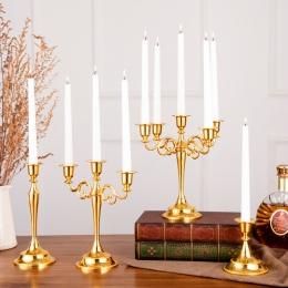 1 PC ślub dekoracja stołu na przyjęcie złoty świecznik czarny brąz kandelabr ozdoba na środek stołu europy dekoracja do domu świ