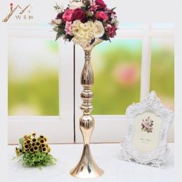 """10 sztuk/partia złote świeczniki 50 CM/20 """"kwiat wazon świecznik dekoracje ślubne Centerpieces stojak na roślinę doniczkową ołow"""