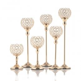 Złoty kryształ świeczniki Tealight świeczniki stojak na kompozycje kwiatowe na stół weselny dzień ojca do dekoracji domu, 6 rozm