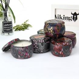 Puszka bezdymne zapach Handmade świeca zapachowa naturalny wosk sojowy ślub urodziny piękne świecznik Home Decoration