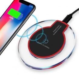 Bezprzewodowa ładowarka kryształ okrągły Pad ładowania dla iPhone X Xs Max XR 8 Plus Samsung Galaxy Note 8 S8 S7 s6 krawędzi Qi