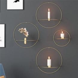 Koło świeca uchwyt do montażu na ścianie europy 3D metalowy świecznik geometryczne herbata światło wyroby do dekoracji domu deko