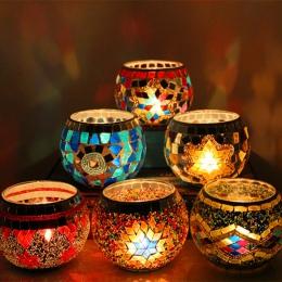 1 X ręcznie robione mozaikowy świecznik romantyczna kolacja przy świecach ślub świeczka urodzinowa lampa do dekoracji domu