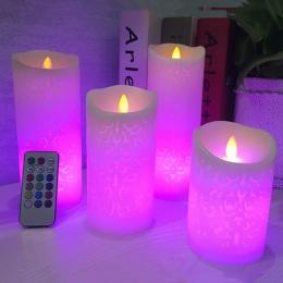 Taniec płomienia LED świeca z RGB pilot zdalnego sterowania, wosk filar świeca na ślub boże narodzenie dekoracji/lampka nocna do